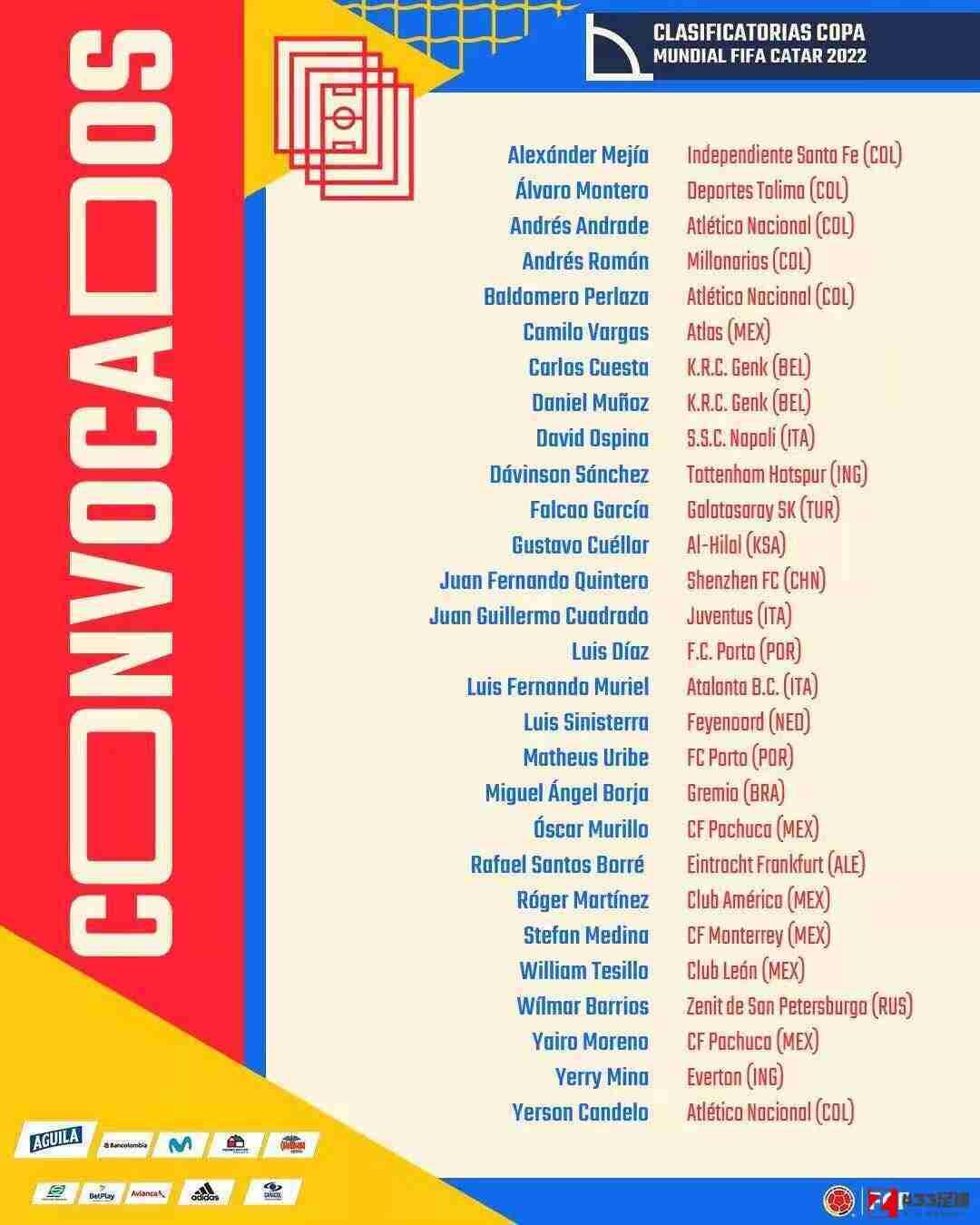 哥伦比亚队,哥伦比亚大名单,哥伦比亚世预赛大名单:奎斯塔,特西洛在列